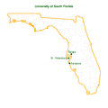 unversity of south florida 3 campus map vector fil Royalty Free Stock Photo