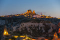 Ushisar castle in the night Royalty Free Stock Photo