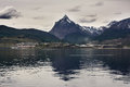 Ushuaia and mount Olivia viewed from Beagle channel Argentina Royalty Free Stock Photo