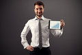 Usinessman showing growth chart successful businessman and smiling Royalty Free Stock Photography