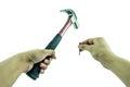 Using hammer and nail Royalty Free Stock Photo
