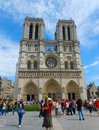 Notre Dame with Tourist Selfies Royalty Free Stock Photo