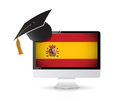 Using technology to learn the spanish language illustration design concept Royalty Free Stock Photography