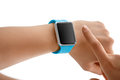Using Touch Screen Smart Watch Royalty Free Stock Photo