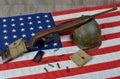 Usm1 carbine with military helmet Royalty Free Stock Photo