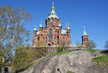Uspensky cathedral in helsinki finalnd on the rock Royalty Free Stock Photos