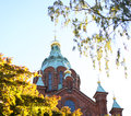 Uspensky cathedral helsinki on a sunny day in fall Royalty Free Stock Photography