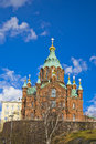 Uspensky cathedral in helsinki view of the the spring finland Royalty Free Stock Photo
