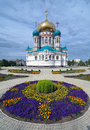 Uspensky Cathedral in Omsk, Russia Royalty Free Stock Images