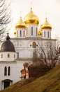 Uspensky Cathedral (sobor) with golden domes, Dmitrov, Moscow re Stock Photo