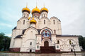 The uspensky cathedral in yaroslavl russia in summer golden domes and crosses with cloudy sky famous touristic place at golden Royalty Free Stock Photography