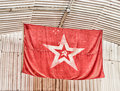 Ussr flag red star sickle and hammer Royalty Free Stock Photo