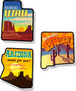 Utah, Arizona and New Mexico Travel Stickers Stock Image