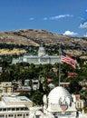 Utah Capitol Dome Building in Salt Lake City Utah with American Flag Royalty Free Stock Photo