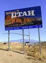 Utah state road sign on interstate Royalty Free Stock Photo