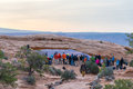 UTAH, USA - APRIL 25, 2014: people are waiting for a sunrise at Royalty Free Stock Photo