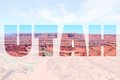 Utah word sign us state name with background landscape Royalty Free Stock Photos