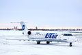 Utair bombardier canadair regional jet crj lr novyy urengoy february at novyy urengoy international airport russia Stock Photography