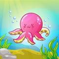 Ute octopus illustration in the underwater world Vector