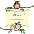 Ð¡ute owls on a branch on the old scroll background with space for text