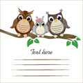 Ð¡ute owls on a tree branch with space for text.