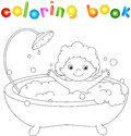 Ð¡ute toddler bathing in the bath with foam and laughing. Colori