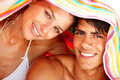 Ute yYoung couple with a towel on their head Stock Photos