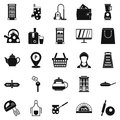 Utensil icons set, simple style