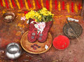 Utensils for hindu offering different substances and used temple Royalty Free Stock Image