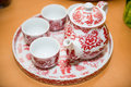 Utensils for serve the tea in chinese wedding Royalty Free Stock Photo