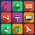 Utilities icons in flat style heating and electricity water and gas vector illustration Royalty Free Stock Image