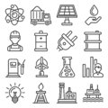 Utilities Icons Set. Electricity Water Gas Utility on White Background. Vector Royalty Free Stock Photo