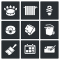 Utilities vector icons set icon flat collection isolated on a black background Royalty Free Stock Photo