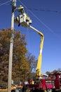 Utility Pole Work Stock Photo