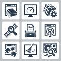 Utility software vector icons set Stock Photos