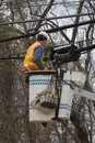 Utility Worker Repairing Lines Stock Photography