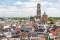 Utrecht aerial view netherlands dom tower and cathedral of town Royalty Free Stock Image