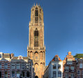 Utrecht dom tower the famous in netherlands Stock Image