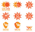 Uv logo uva uvb and spf with orange color isolated on white background Royalty Free Stock Photography