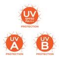 Uv logo uva uvb and spf with orange color on white background Stock Photos