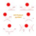 UV Protection symbol 6 icons set