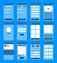 UX UI Flowchart. Mock-ups mobile application concept flat desig