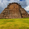 Uxmal mayan pyramid in yucatan mexico Royalty Free Stock Images