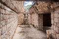 Uxmal mayan room yucatan mexico a stone with its collapsed ceiling and the typical arch in the archaeological site of peninsula Royalty Free Stock Photography