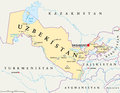 Uzbekistan Political Map Royalty Free Stock Photo