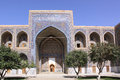 Uzbekistan samarkand veiw at ulugh beg madrasahs the most popular historical place in registan squire with three and tilya kori Royalty Free Stock Photos