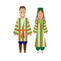 Uzbeks national dress illustration of costume on white background Stock Image