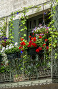 Uzes france gard languedoc roussillon old typical house with flowers Stock Images