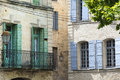 Uzes france gard languedoc roussillon old typical houses Royalty Free Stock Photography
