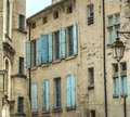 Uzes france gard languedoc roussillon old typical houses Stock Photography